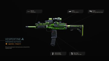 The Vespertine Blueprint in Warzone features a neon green weapon skin for the MP7.