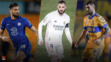 Olivier Giroud, Karim Benzema et André-Pierre Gignac font partie des meilleurs buteurs français de l'année.