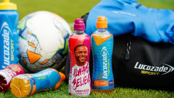 Raheem Sterling is the first England men's player on a Lucozade Sport bottle