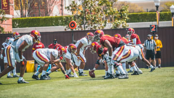 USC football offensive line.