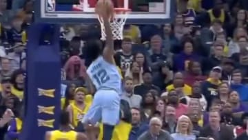 Memphis Grizzlies rookie Ja Morant nearly posterized Los Angles Lakers center Anthony Davis