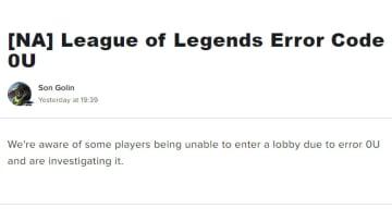 League of Legends Error Code OU: How to Fix