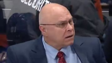 Islanders head coach Barry Trotz is not happy with the result,