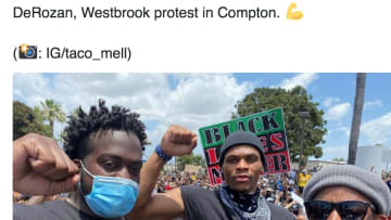 NBA stars DeMar DeRozan and Russell Westbrook took part in a protest in Compton.