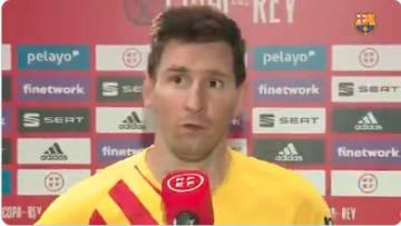 Messi alegre por ganar la Copa del Rey
