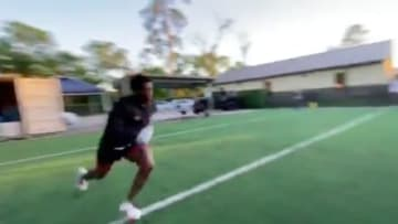 Jerick McKinnon working out in the offseason in preparation for his first full year with the Niners
