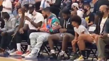 LeBron James and Drake at Bronny James' high school basketball game.
