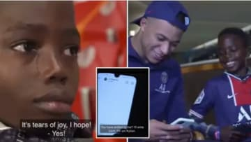 Young kid meets his idol Kylian Mbappe