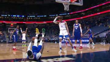 Jaxson Hayes informs Reggie Jackson he just dunked on his head.