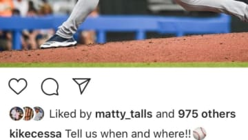 """New York Yankees RHP Luis Cessa was a little late to the """"Tell us when and where"""" trend."""