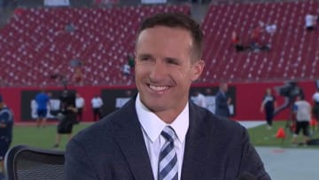 Drew Brees' hair during his debut on NBC