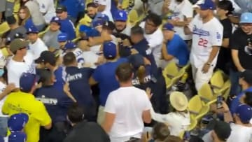 Dodgers fans brawl with security