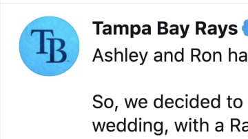 The Rays helped out a few fans who had to postpone their wedding