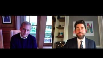 'The Office' stars John Krasinski and Steve Carell talk favorite Dunder Mifflin moments and more.