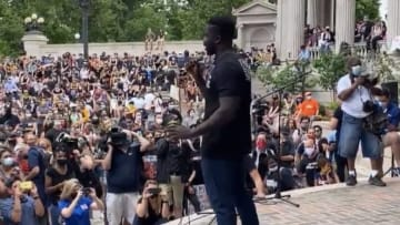 Denver Broncos OLB Jerry Attaochu delivers a speech at the city's Black Lives Matter rally