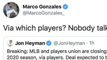 Mariners pitcher Marco Gonzales refutes MLB insider Jon Heyman's claim that the MLB and MLBPA are nearing an agreement regarding the 2020 season.