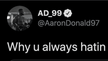 Aaron Donald calls out Skip Bayless for his latest dumb take.