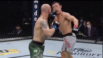 "Brian ""Boom"" Kelleher knocks out Hunter Azure in their featherweight bout at UFC Fight Night in Jacksonville"