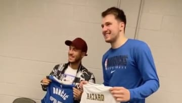 Dallas Mavericks standout Luka Doncic and Real Madrid star Eden Hazard swapped jerseys on Wednesday night.