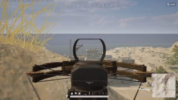 PLAYERUNKNOWN'S BATTLEGROUNDS player lands 175 meter crossbow shot as third time's the charm to eliminate a tiny looking opponent.