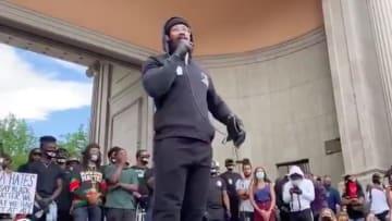 Broncos linebacker Von Miller spoke during a George Floyd protest in Denver on Saturday.
