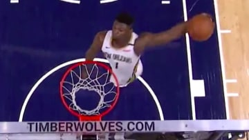 Zion Williamson unleashed a vicious windmill dunk against the Timberwolves on Sunday.