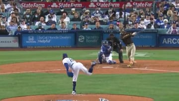 Fernando Tatis Jr. launches a home run out of Dodger Stadium.