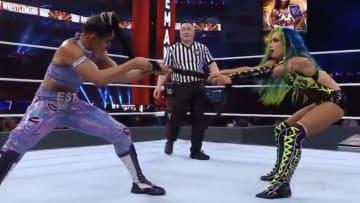 Bianca Belair and Sasha Banks at WrestleMania.
