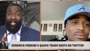 Kendrick Perkins and Quavo of Migos fan