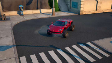 A Ferrari in action, located at Tilted Towers
