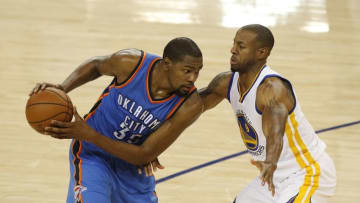 May 26, 2016; Oakland, CA, USA; Oklahoma City Thunder forward Kevin Durant (35) controls the ball as Golden State Warriors guard Andre Iguodala (9) defends in the second quarter in game five of the Western conference finals of the NBA Playoffs at Oracle Arena. Mandatory Credit: Cary Edmondson-USA TODAY Sports