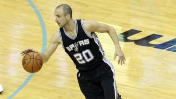 Apr 22, 2016; Memphis, TN, USA; San Antonio Spurs guard Manu Ginobili (20) during the first quarter against the Memphis Grizzlies in game three of the first round of the NBA Playoffs at FedExForum. Mandatory Credit: Nelson Chenault-USA TODAY Sports
