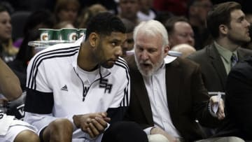 Dec 31, 2014; San Antonio, TX, USA; San Antonio Spurs head coach Gregg Popovich talks to San Antonio Spurs power forward Tim Duncan (21) during the first half against the New Orleans Pelicans at AT&T Center. Mandatory Credit: Soobum Im-USA TODAY Sports