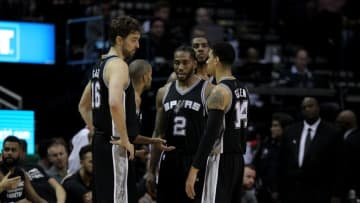Nov 12, 2016; Houston, TX, USA; The San Antonio Spurs starters huddle together during a timeout against the Houston Rockets during the second quarter at Toyota Center. Mandatory Credit: Erik Williams-USA TODAY Sports