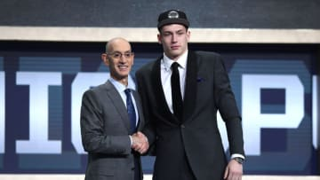 NEW YORK, NEW YORK - JUNE 20: Luka Samanic poses with NBA Commissioner Adam Silver after being drafted with the 19th overall pick by the San Antonio Spurs during the 2019 NBA Draft at the Barclays Center on June 20, 2019 in the Brooklyn borough of New York City. NOTE TO USER: User expressly acknowledges and agrees that, by downloading and or using this photograph, User is consenting to the terms and conditions of the Getty Images License Agreement. (Photo by Sarah Stier/Getty Images)