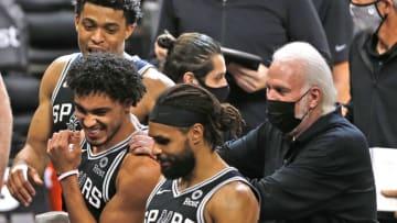 San Antonio Spurs Tre Jones Keldon Johnson Patty Mills (Photo by Ronald Cortes/Getty Images)