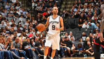 SAN ANTONIO, TX - MAY 1: Tony Parker #9 of the San Antonio Spurs drives against the Houston Rockets in Game One of the Western Conference Semifinals of the 2017 NBA Playoffs on May 1, 2017 at the AT&T Center in San Antonio, Texas. NOTE TO USER: User expressly acknowledges and agrees that, by downloading and or using this photograph, user is consenting to the terms and conditions of the Getty Images License Agreement. Mandatory Copyright Notice: Copyright 2017 NBAE (Photos by Jesse D. Garrabrant/NBAE via Getty Images)