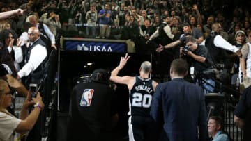 SAN ANTONIO,TX - APRIL 22 : Manu Ginobili #20 of the San Antonio Spurs leaves the court after a win against the Golden State Warriors in Game Four of Round One of the 2018 NBA Playoffs at AT&T Center on April 22 , 2018 in San Antonio, Texas. NOTE TO USER: User expressly acknowledges and agrees that , by downloading and or using this photograph, User is consenting to the terms and conditions of the Getty Images License Agreement. (Photo by Ronald Cortes/Getty Images)