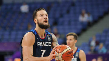 HELSINKI, FINLAND - SEPTEMBER 5: Joffrey Lauvergne of France during the FIBA Eurobasket 2017 Group A match between Poland and France on September 5, 2017 in Helsinki, Finland. (Photo by Norbert Barczyk/Press Focus/MB Media/Getty Images)