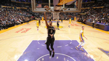 LOS ANGELES, CA - JANUARY 11: Dejounte Murray #5 of the San Antonio Spurs goes to the basket against the Los Angeles Lakers on January 11, 2018 (Photo by Andrew D. Bernstein/NBAE via Getty Images)