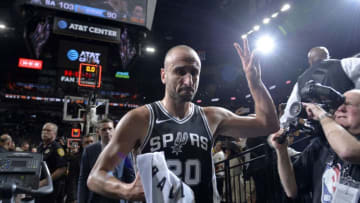 SAN ANTONIO, TX - APRIL 22: Manu Ginobili #20 of the San Antonio Spurs after Game Four of the Western Conference Quarterfinals against the Golden State Warriors during the 2018 NBA Playoffs on April 22, 2018 at the AT&T Center in San Antonio, Texas. NOTE TO USER: User expressly acknowledges and agrees that, by downloading and/or using this photograph, user is consenting to the terms and conditions of the Getty Images License Agreement. Mandatory Copyright Notice: Copyright 2018 NBAE (Photos by Mark Sobhani/NBAE via Getty Images)
