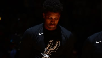 DENVER, CO - APRIL 16: Rudy Gay #22 of the San Antonio Spurs stands for the national anthem before Game Two of Round One of the 2019 NBA Playoffs on on April 16, 2019 at the Pepsi Center in Denver, Colorado. NOTE TO USER: User expressly acknowledges and agrees that, by downloading and/or using this Photograph, user is consenting to the terms and conditions of the Getty Images License Agreement. Mandatory Copyright Notice: Copyright 2019 NBAE (Photo by Bart Young/NBAE via Getty Images)