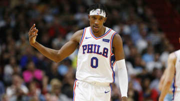 MIAMI, FLORIDA - DECEMBER 28: Josh Richardson #0 of the Philadelphia 76ers celebrates after a three pointer against the Miami Heat during the first half at American Airlines Arena on December 28, 2019 in Miami, Florida. NOTE TO USER: User expressly acknowledges and agrees that, by downloading and/or using this photograph, user is consenting to the terms and conditions of the Getty Images License Agreement. (Photo by Michael Reaves/Getty Images)