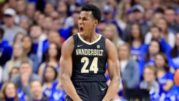 LEXINGTON, KY - JANUARY 12: Aaron Nesmith #24 of the Vanderbilt Commodores celebrates in the game against the Kentucky Wildcats at Rupp Arena on January 12, 2019 in Lexington, Kentucky. (Photo by Andy Lyons/Getty Images)