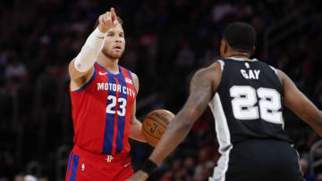 Dec 1, 2019; Detroit, MI, USA; Detroit Pistons forward Blake Griffin (23) points down the court against San Antonio Spurs forward Rudy Gay (22) during the first quarter at Little Caesars Arena. Mandatory Credit: Raj Mehta-USA TODAY Sports