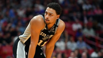 Jan 15, 2020; Miami, Florida, USA; San Antonio Spurs guard Bryn Forbes (11) takes a breather Miami Heat during the second half at American Airlines Arena. Mandatory Credit: Steve Mitchell-USA TODAY Sports