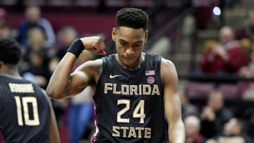 Jan 25, 2020; Tallahassee, Florida, USA; NBA Draft prospect Devin Vassell (24) celebrates after a play against the Notre Dame Fighting Irish during the first half at Donald L. Tucker Center. (Melina Myers-USA TODAY Sports)