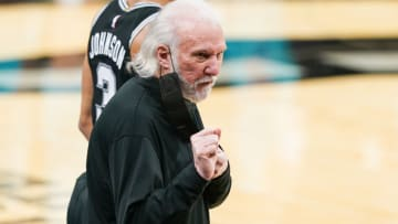 Mar 22, 2021; San Antonio, Texas, USA; San Antonio Spurs head coach Gregg Popovich reacts in the second half against the Charlotte Hornets at the AT&T Center. Mandatory Credit: Daniel Dunn-USA TODAY Sports