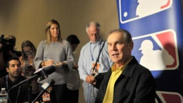 Dec 8, 2015; Nashville, TN, USA; San Francisco Giants manager Bruce Bochy speaks with the media during the MLB winter meetings at Gaylord Opryland Resort . Mandatory Credit: Jim Brown-USA TODAY Sports