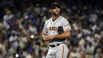 Apr 15, 2016; Los Angeles, CA, USA; San Francisco Giants starting pitcher Madison Bumgarner reacts on the mound after allowing a solo home run to Los Angeles Dodgers left fielder Enrique Hernandez (not pictured) during the third inning at Dodger Stadium. Mandatory Credit: Kelvin Kuo-USA TODAY Sports
